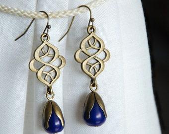 Navy jadeite earrings, Jade gem stone drop earrings, Elegant statement dangle earrings, Basic gemstone jewelry, Brass chandelier earrings