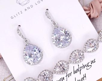 Lelanie - Luxe Cubic Zirconia Teardrop Silver Earrings, gifts for her, Bridal Bridesmaids, white silver weddings, jewelry e48 N62 b85