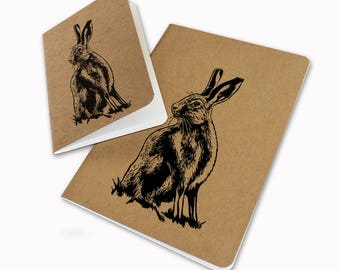 A5 brown hare hand printed linocut screenprint notebook sketchbook blank pages