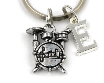 Drum Key Ring, Personalized Drum Kit Keychain, Drums Keyring, Initial Keychain, Music Gift, Drummer Keychain, Christmas Gift, Drummer Gift