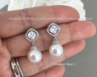 Bridal Earrings Swarovski Pearl Earrings Dangel Earrings Wedding Earrings Bridesmaid Earrings Wedding Jewelry Cubic Zirconia Earrings