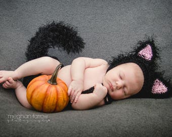 Baby Cat Costume - Baby Halloween Costume - Newborn Outfits - Newborn Photo Props - Newborn Halloween - Baby Shower Gifts - Picture Outfits