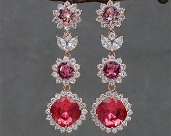 Rose Gold Earrings Ruby Earrings Hot Pink Crystal Earrings Swarovski Rose Rhinestone Jewellery Red Chandelier EArrings for Brides