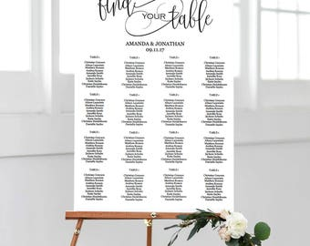 Seating Chart Wedding Template - Wedding Seating Chart Alphabetical - Simple Wedding - Find your Table - Downloadable wedding #WDH301_5