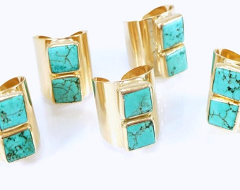 Turquoise Ring, Turquoise,December Birthstone, Statement Ring,  Cocktail Turquoise Ring, Gemstones Ring, Gold Adjustable Wide Band Ring.