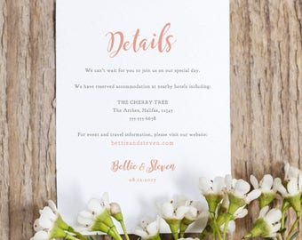 Wedding details information rsvp card template, printable templates, RSVP & Info Details, Bettie, any colour | Enclosures