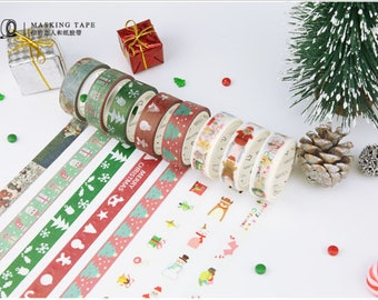 Christmas Washi Tapes - Masking Tape - Japanese Washi Tape - Paper Tape - Decorative Tape - Planner Tape - Scrapbooking Tape - Tape rolls