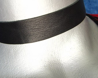 "Black Leather Choker -- Plain and Simple 3/4"" (20mm) Adjustable"