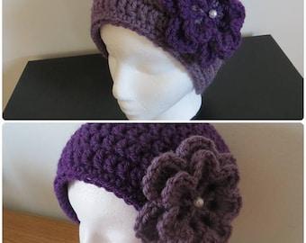Crochet women hat, size L,XL, violet hat, christmas gift