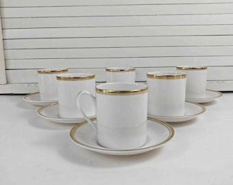 Espresso Cup Set / Demitasse Cup Set / White Gold Trim / Vintage Coffee Set / Vintage Espresso / Espresso Cup Saucer / Demitasse Cup Saucer