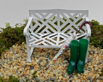 Fairy Garden Accessories, White Metal Bench, Miniature Umbrella, Miniature Garden Wellington Boots green, garden miniatures, mini accessory