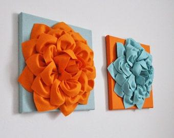 Art Orange Teal Blue, Textured Artwork, Fiber Art, Orange Wall Art, Flower Wall Art, Nursery, Modern Wall Decor, Bathroom Decor, Vintage Art