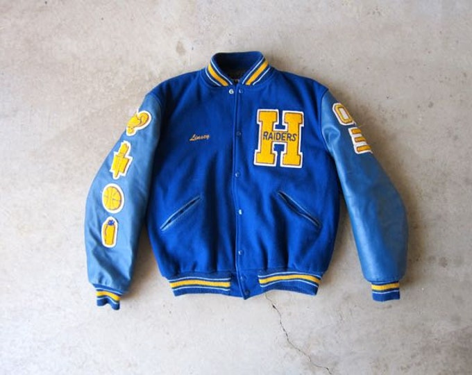 Raiders 90s Varsity Jacket Blue Wool High School LETTERMAN Jacket Yellow Leather Athletic Sports Coat College Football Jacket with Patches