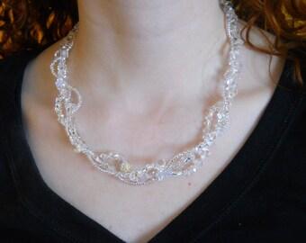 "Clear Crystal necklace, Swarovski crystal necklace, 17"", Multi strand necklace, bridal, wedding, statement, evening, twisted, freeform"