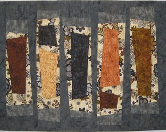 Art Quilt Five Wonky Columns, Wall Quilt, contemporary wall quilt, modern quilt, abstract quilt