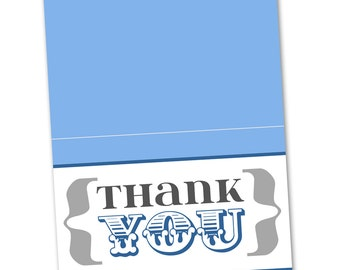 Blue and Gray Baby Shower Grey Thank You Card - Gender Neutral Printable Instant Download Digital File