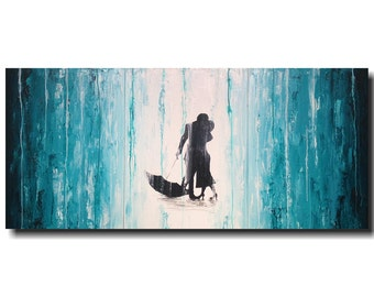Large Abstract paintings - 24 X 54 -Art -by Artist JMJartstudio- -Wall art-wall decor -Stories Told-Silhouette Painting