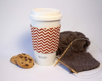 Coffee Cozy, Cup Cozy, Tea Cozy, Orange Chevron and Khaki Green Reversible & Reusable Coffee Cup Sleeve, Stocking Stuffer, Bridesmaid Gift