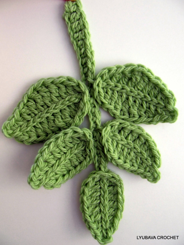 Crochet Pattern, Leaf Branch PATTERN, Crochet Flower Applique ...