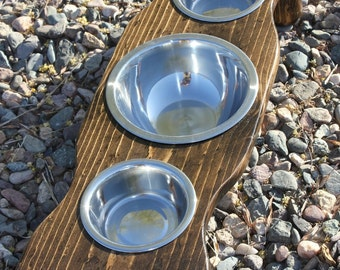 FREE SHIPPING, Xtra SMALL Three Bowl Raised Cat Feeder, Elevated tiny Dog or Cat Bowls, U Pick Height, Many Tint Choices,Quality,Made2order