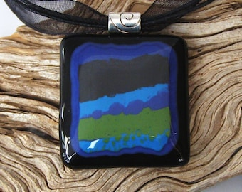 Abstract Fused Glass Pendant Necklace - Olive Green - Blue - Black - Handmade Glass Jewelry