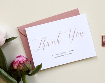 Calligraphy Thank You Card, Custom Thank you card with wedding date, custom wedding color thank you card, thank you card template, simple
