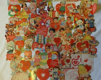 Large Lot of Vintage Valentines Circa 1940's - 65 in All - Some Un-Used