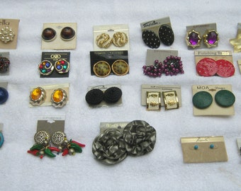 23 Pairs of CLIP ON Earrings All Different with 2 for Pierced ears Carded