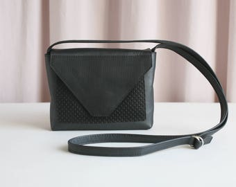 Minimalistic Crossbody Bag Tricolored Leather, small satchel bag, handbag envelope shape