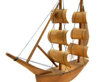 Handmade Wooden Folk Art Ship