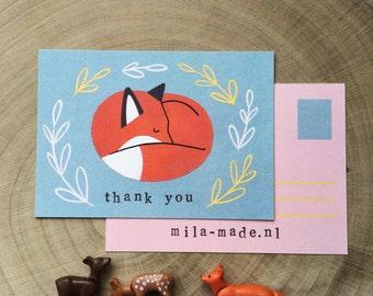 Sleeping Fox Illustration 'thank you' card