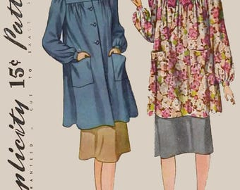 Vintage 1940s Maternity Smock in two lengths Sewing Pattern Simplicity 3501 40s Swing Era Pattern Size 14 Bust 32 UNCUT