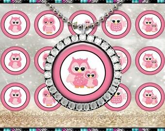 """Cute Owls Pink 2461 - INSTANT DIGITAL DOWNLOAD - 1"""" Bottlecap Craft Images (4x6) Digital Collage Sheet"""