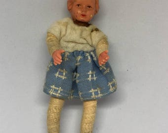 Vintage German Caco Doll, Miniature Little Girl circa 1960s.