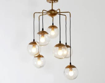 Mid Century Modern Handcrafted Brass Bubbles Chandelier Ceiling Light Lamp '70s