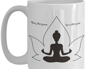 Yoga Lovers Mug, Yoga Pose Cup, 15 ounce White Ceramic Cup