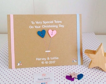 Handmade Personalised Twin Christening Card - Personalised Twin Baptism Card - Handmade Twin Christening Day Card