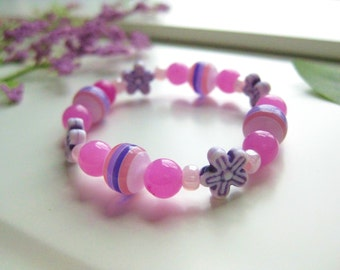 Girls Pink and Purple Flower Bracelet,  Small, GBS 131