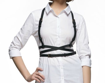 Leather harness belt - Womens leather belt Triple underbust belt Harness women Body harness Leather body belt Leather suspenders women