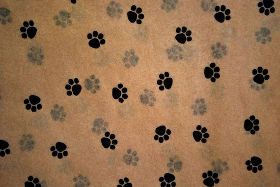 Top Small Paw Print on Kraft Tan Tissue Paper 335 / Gift Wrap AL47