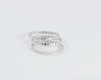 Silver beaded rings