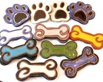 Dog bone Magnet - Mini-me Paws Up Ceramic Refrigerator Magnet