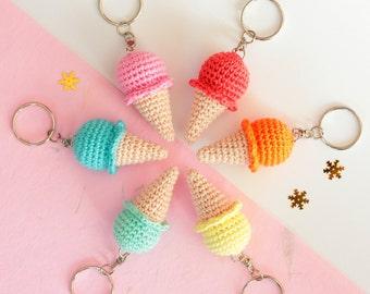 Ice cream keychain, Crochet keychain, Amigurumi keychain funny, Cute keychain food, Crochet key chains for girls, Cool keychains for girls