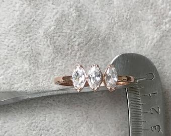 Rose Gold Ring, Gold Engagement Ring, Gold Wedding Ring, 3 Stone Ring, Dainty Engagement Ring, Diamond Engagement Ring, Marquise Cut Ring