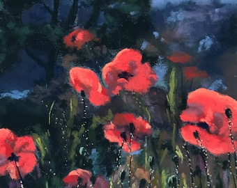 Pastel Painting Woodland Poppies Painted by Wendy Johnston