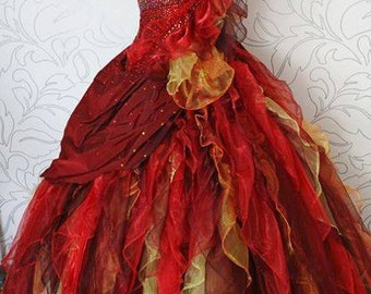 custom made Katniss Everdeen girl on fire hunger games  red yellow interview  gown dress cosplay Suzanne Collins