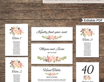 Wedding Seating Chart Template, Seating Cards, Floral Wedding Table Plan, #A008, INSTANT DOWNLOAD, Editable PDF