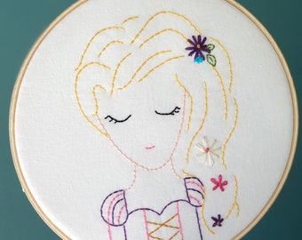 Rapunzel Embroidered Hoop Art