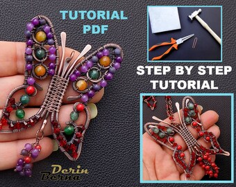 Wire wrapped pendant tutorial,pendant tutorial,wire wrapping tutorial,Butterfly tutorial,Pendant tutorial,jewelry tutorial,beading tutorial