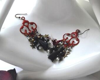 Red and black Bohemian earrings